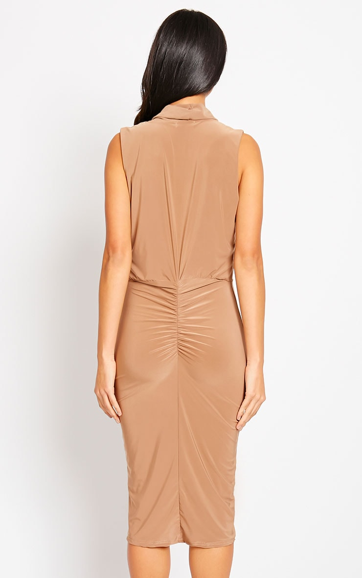 Stella Mocha Drape Midi Dress 2