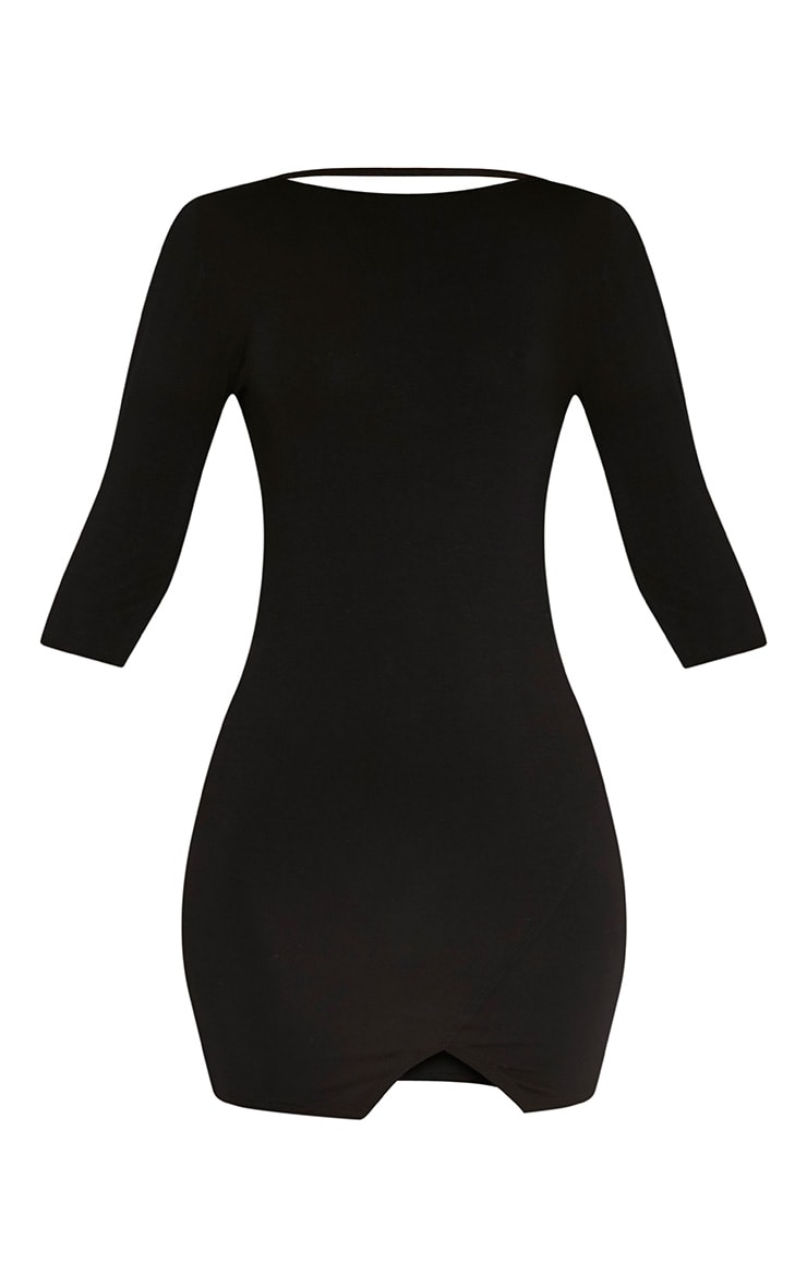 Basic Black Scoop Back V Hem Dress 3