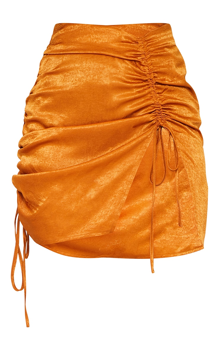 Rust Hammered Satin Ruched Detail Mini Skirt 6
