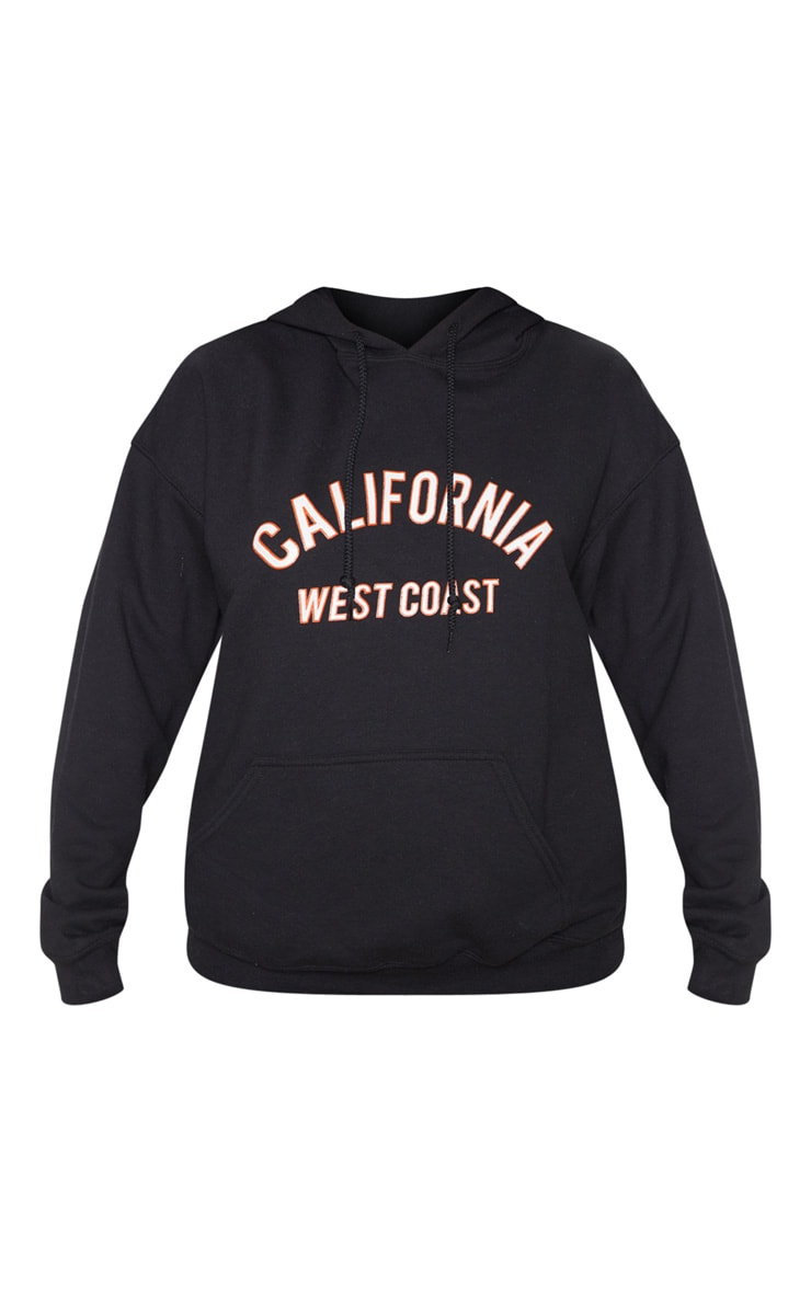 Black California Slogan Oversized Hoodie 3