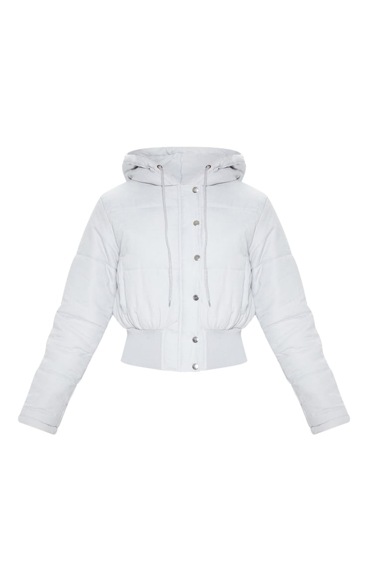 Grey Peach Skin Hooded Puffer Jacket 3