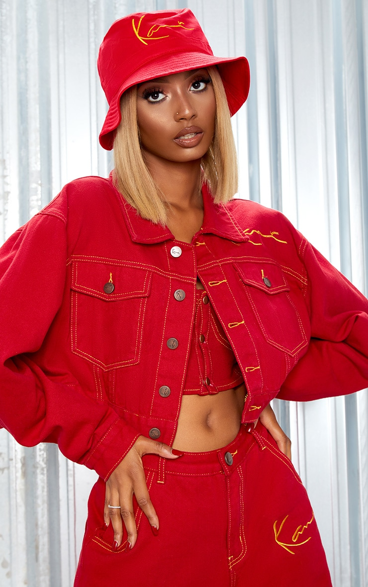 KARL KANI Red Embroidered Denim Crop Jacket