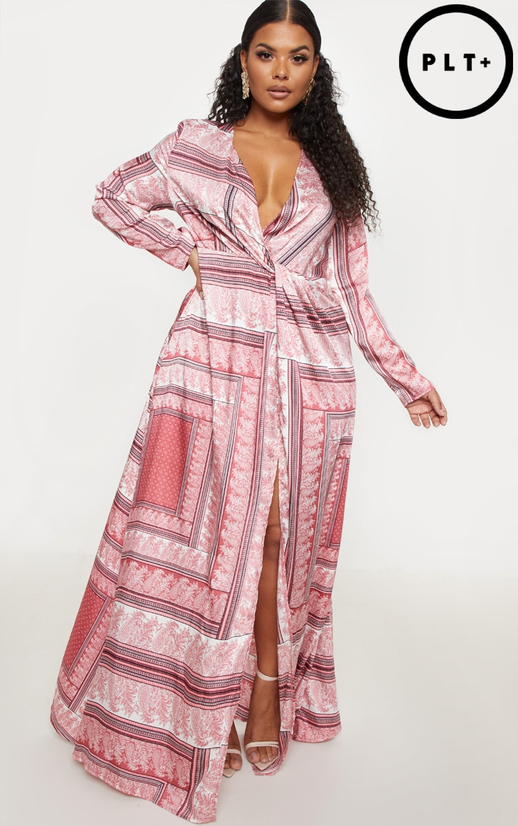 514b46fef8b Plus Pink Scarf Print Twist Front Maxi Dress image 1