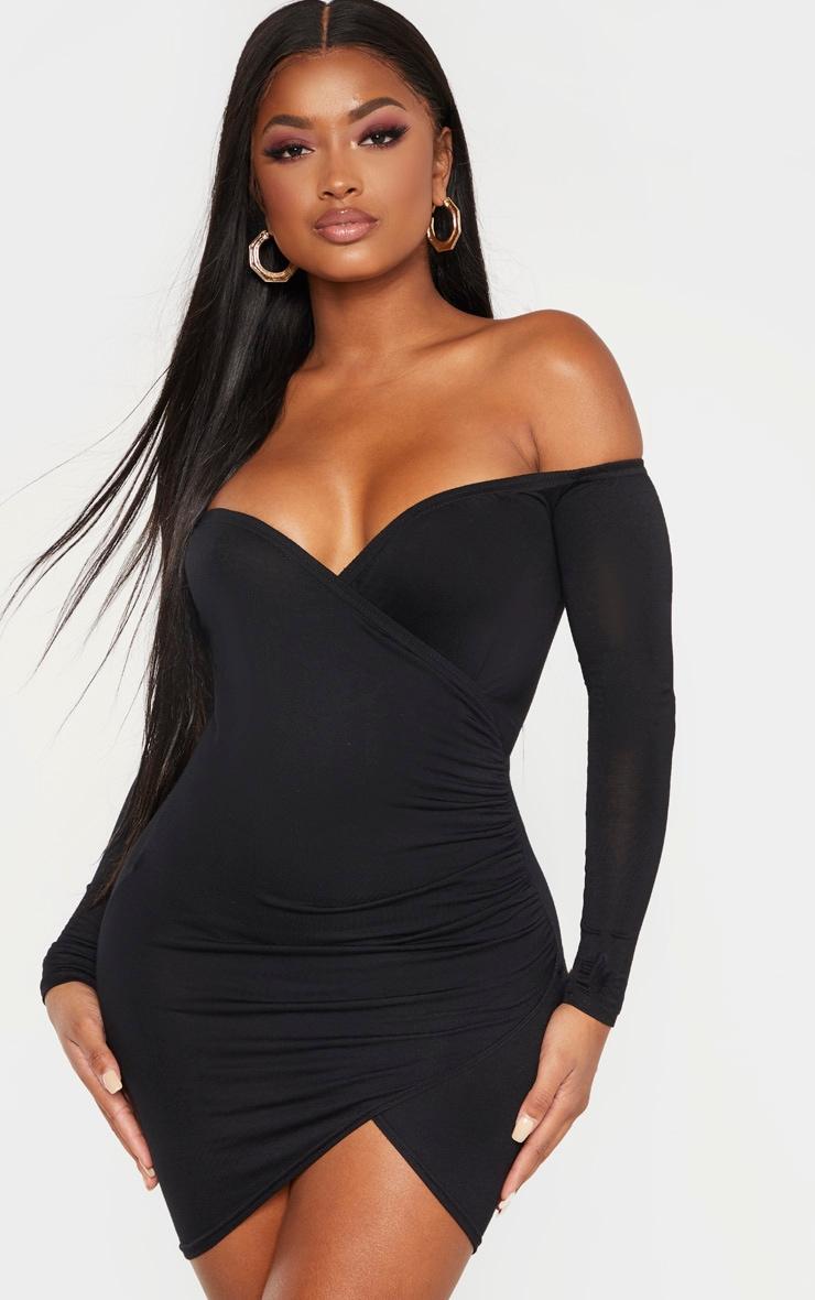 Shape black ruched bardot bodycon dress