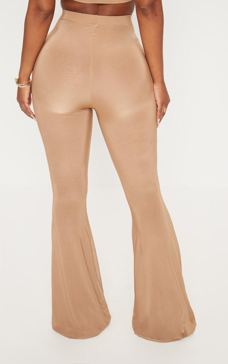 Shape Dark Camel Slinky Flared Trouser 4