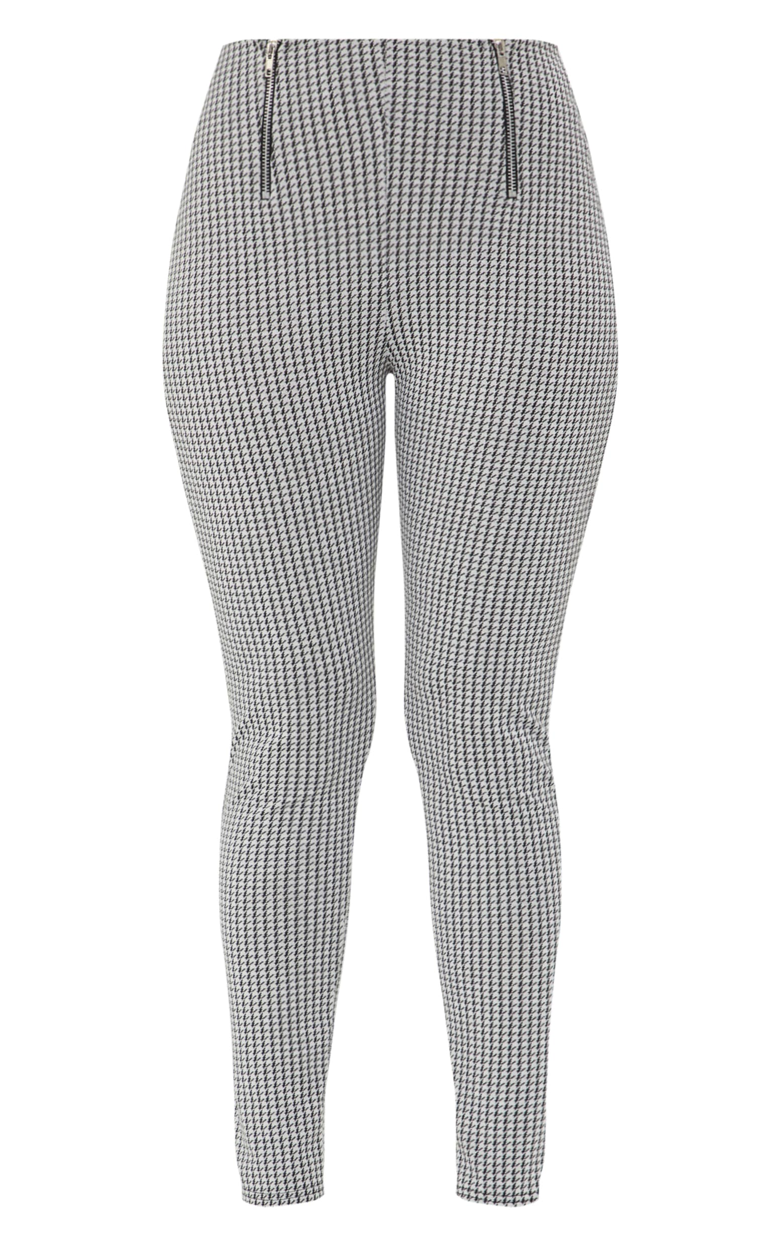 Black Dogtooth Double Zip Skinny Trousers  3