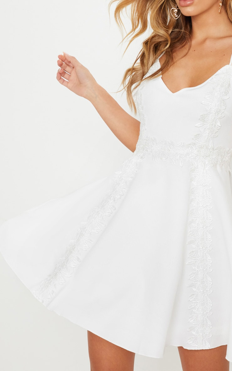White Lace Trim Plunge Skater Dress 5