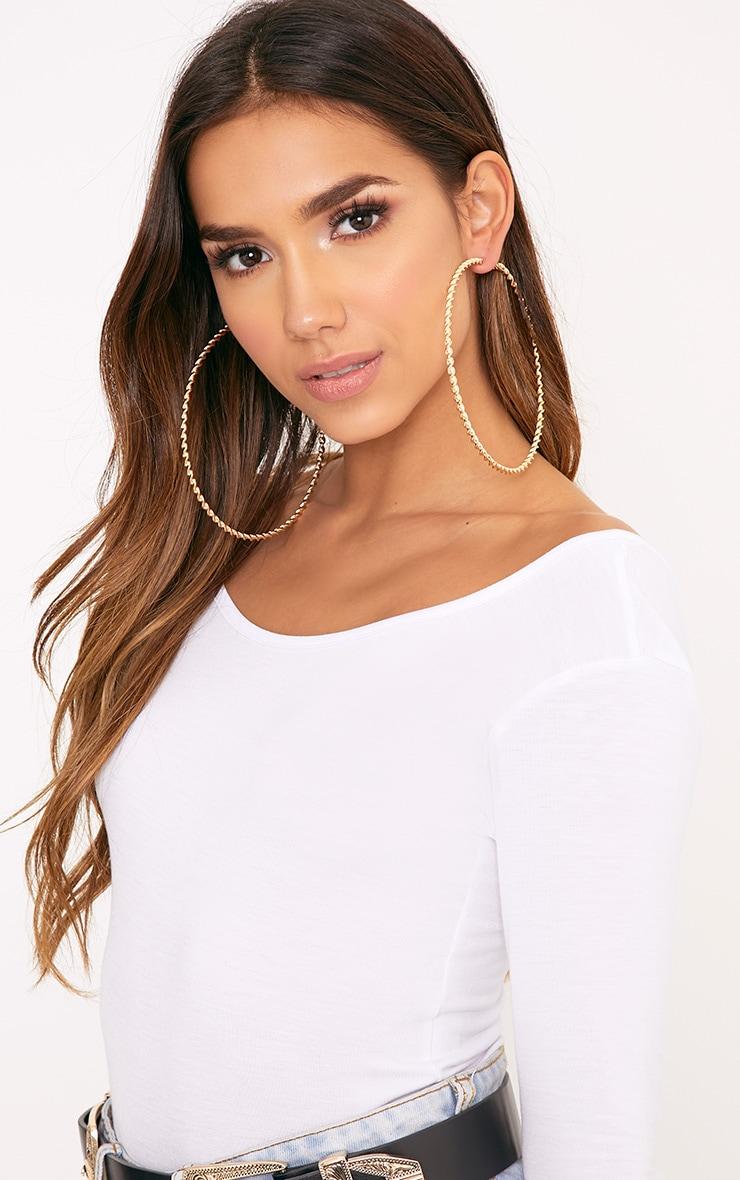 Matillda Gold Twisted Hoop Earrings 2