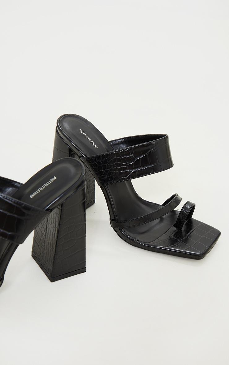 Black PU Croc Toe Loop Block Heel Mules 4