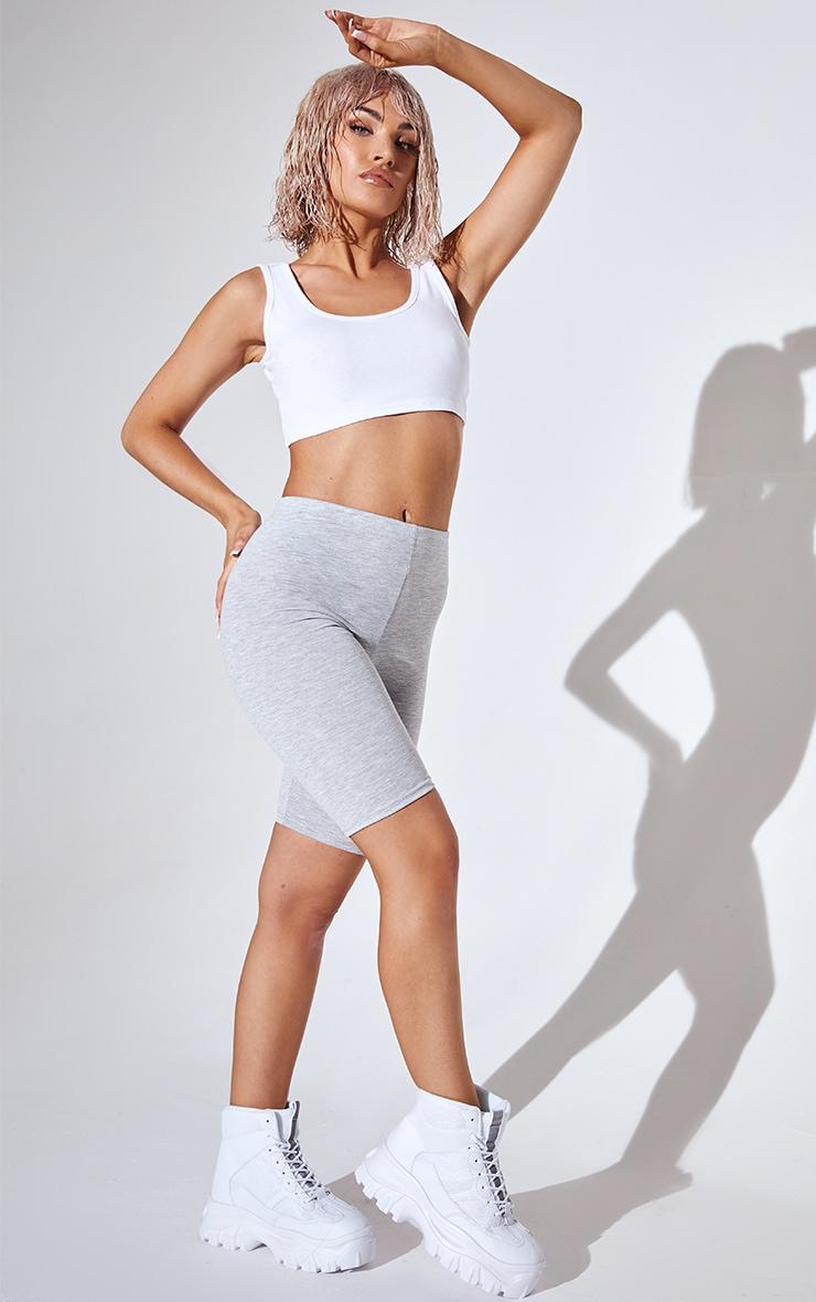 Basic Grey Cotton Blend Bike Shorts 1