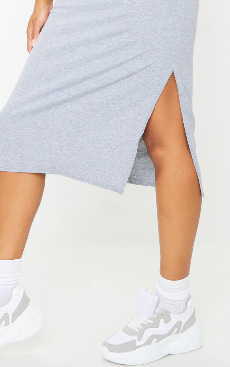 Grey Shoulder Pad Side Split Sleeveless Midi Dress 4