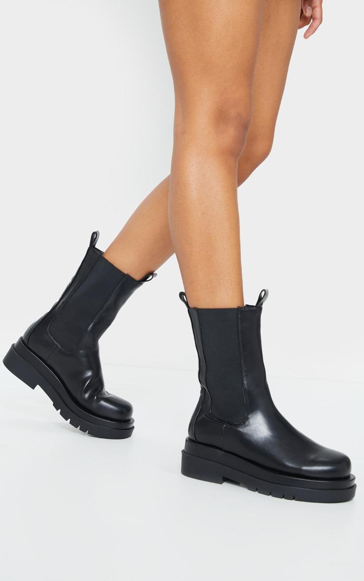 Black Calf High Chunky Chelsea Boot 2