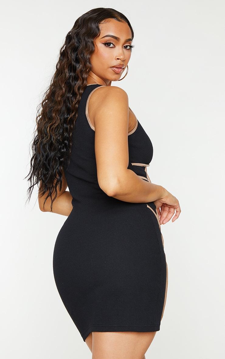 Black Rib Contrast Binding Detail Sleeveless Bodycon Dress 2