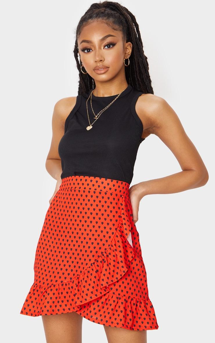Red Heart Print Frill Hem Wrap Mini Skirt 1
