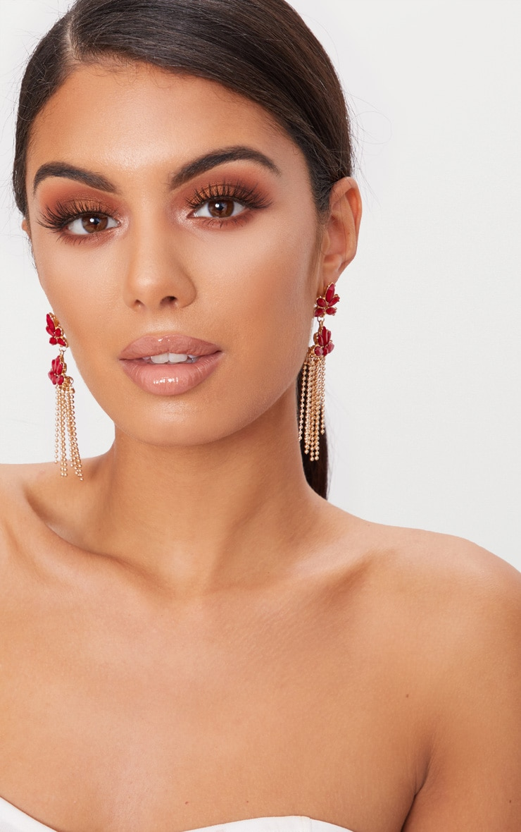 Red Floral Beaded Tassel Earrings 1