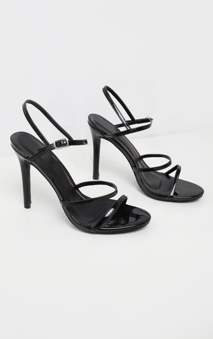Black Wide Fit Triple Strap Slingback Barely There Sandal 3