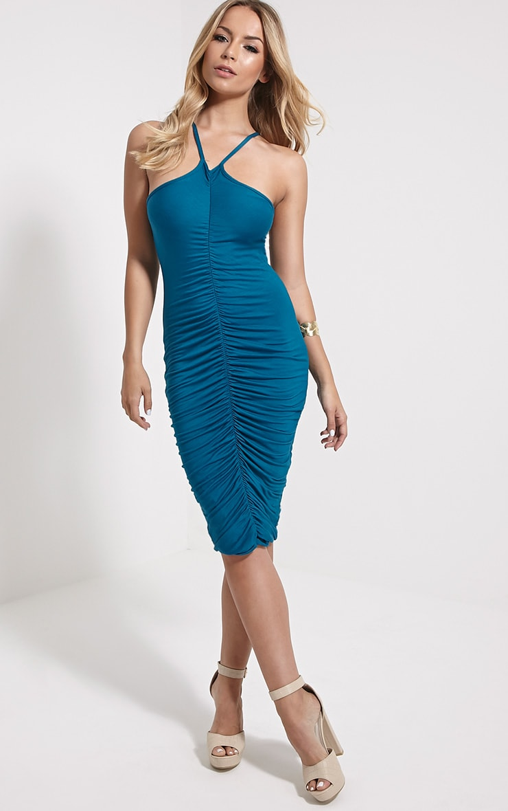 Tarina Teal Ruched Front Midi Dress 3