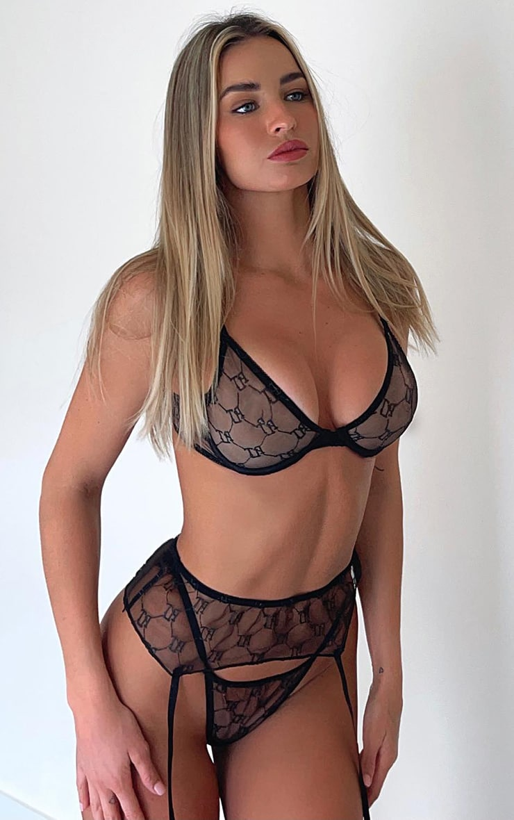 PRETTYLITTLETHING Black Embroidered Mesh Underwired 3 Piece Lingerie Set 1