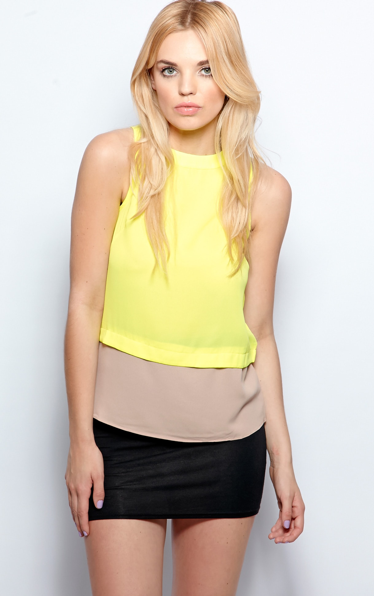 Mya Lime Panel Chiffon Vest 4