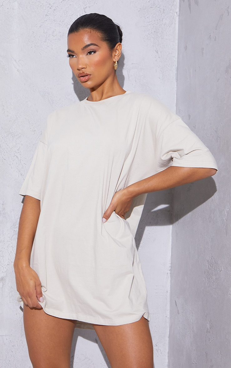 RENEW Washed Stone Oversized Boyfriend T Shirt Dress 3