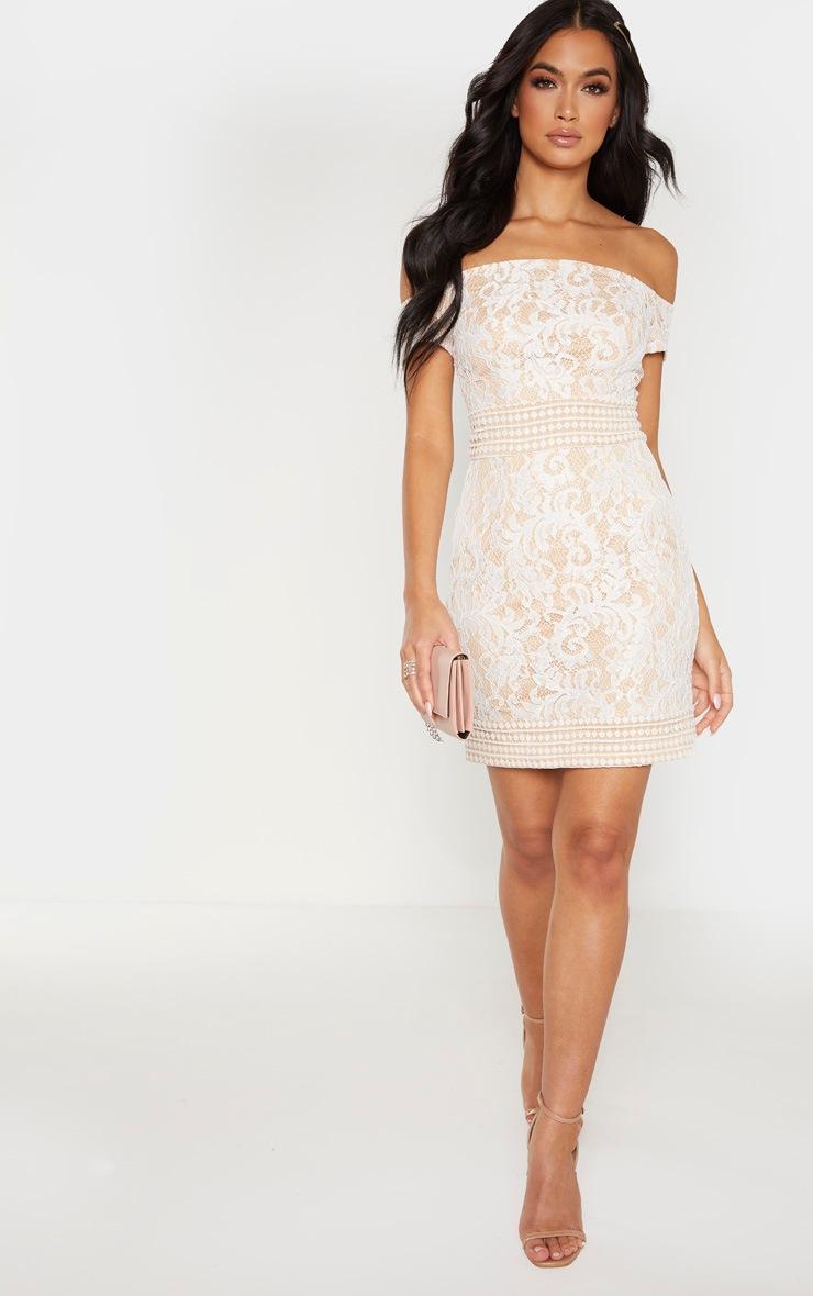 White Bardot Lace Crochet Bodycon Dress 4