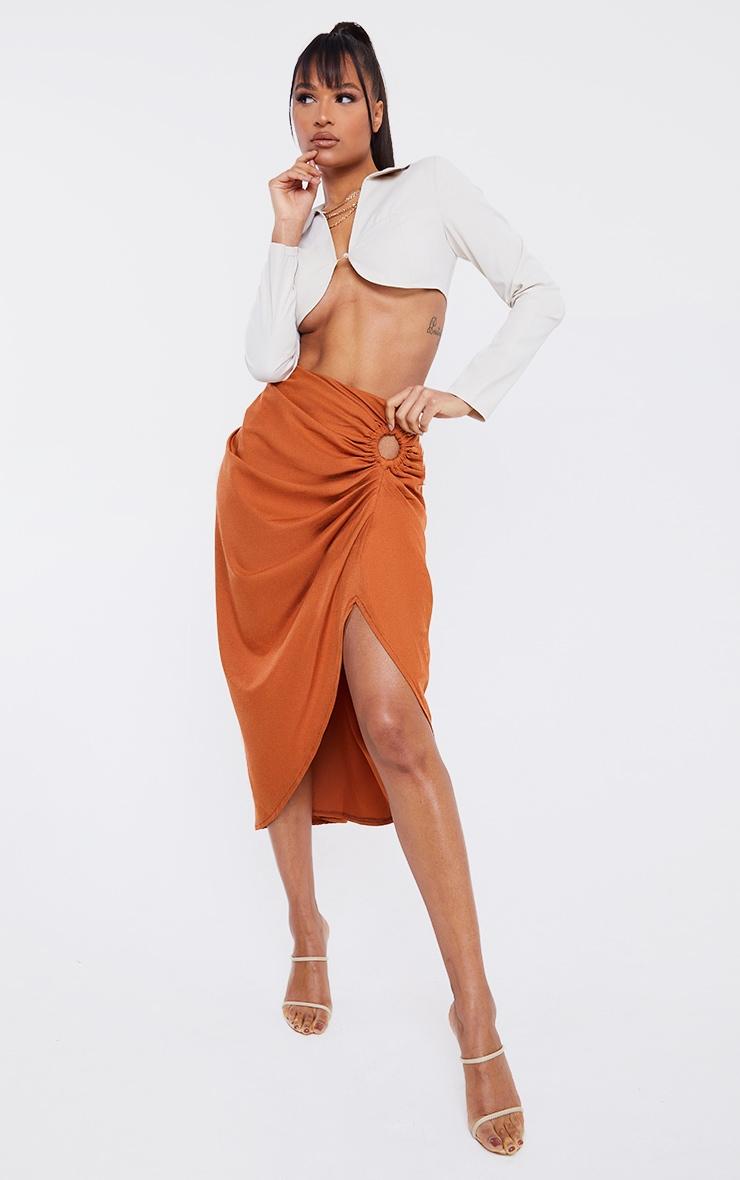 Rust Woven O Ring Cut Out Drape Midi Skirt 1