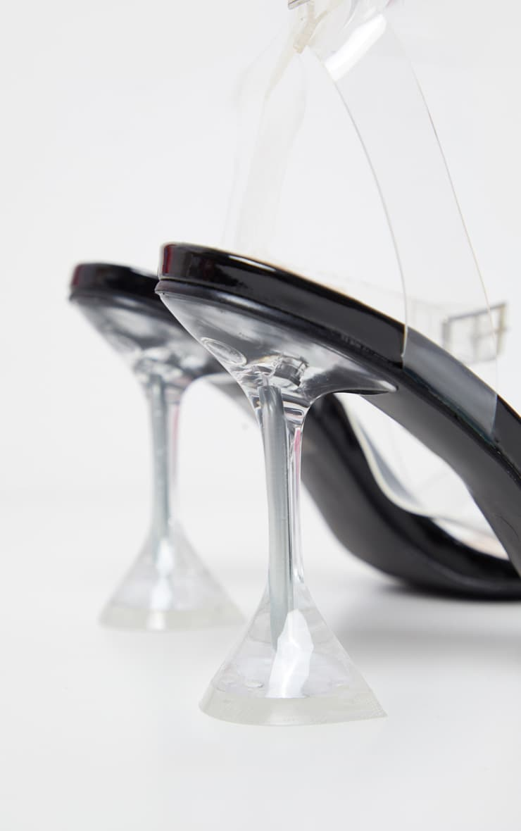 Black Clear Cake Stand Strappy Sandal 4