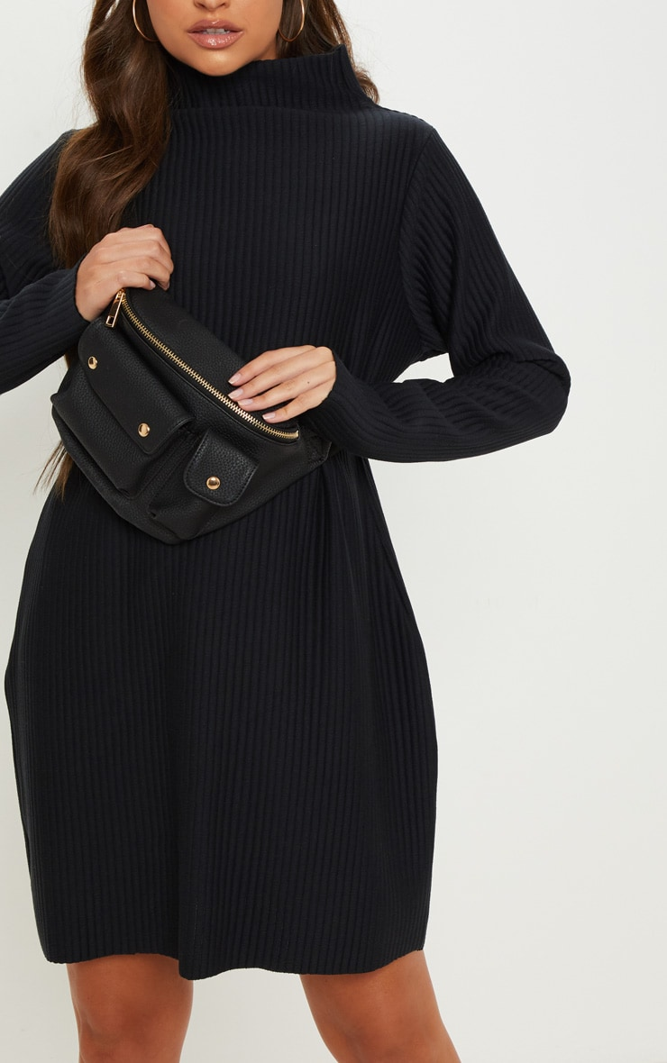 Black High Neck Thick Ribbed Oversized Jumper Dress 5