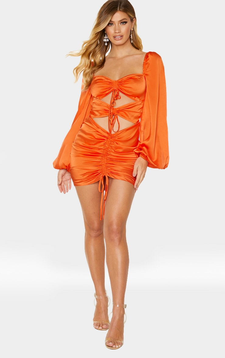 Orange Satin Long Sleeve Cut Out Ruched Detail Bodycon Dress 3
