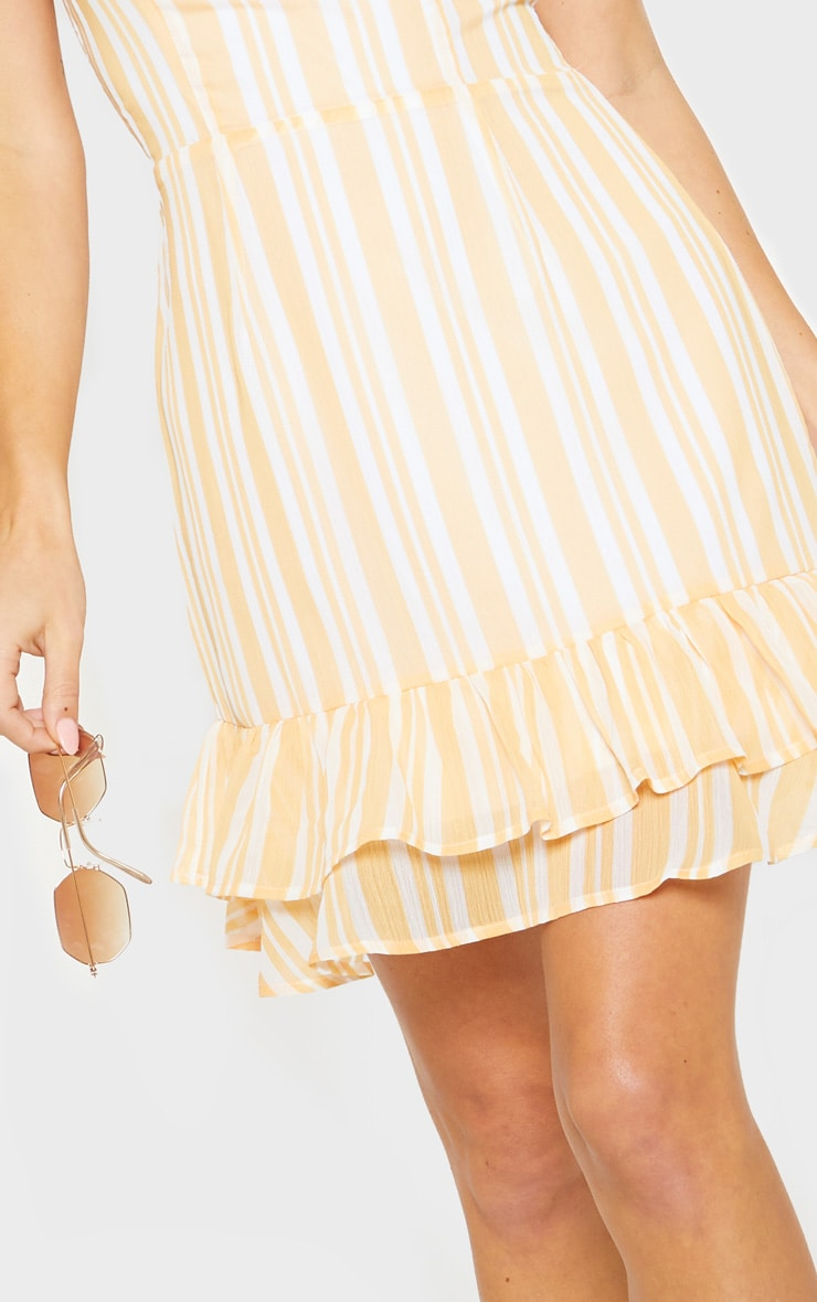 Yellow Chiffon Stripe Square Neck Cami Dress 5