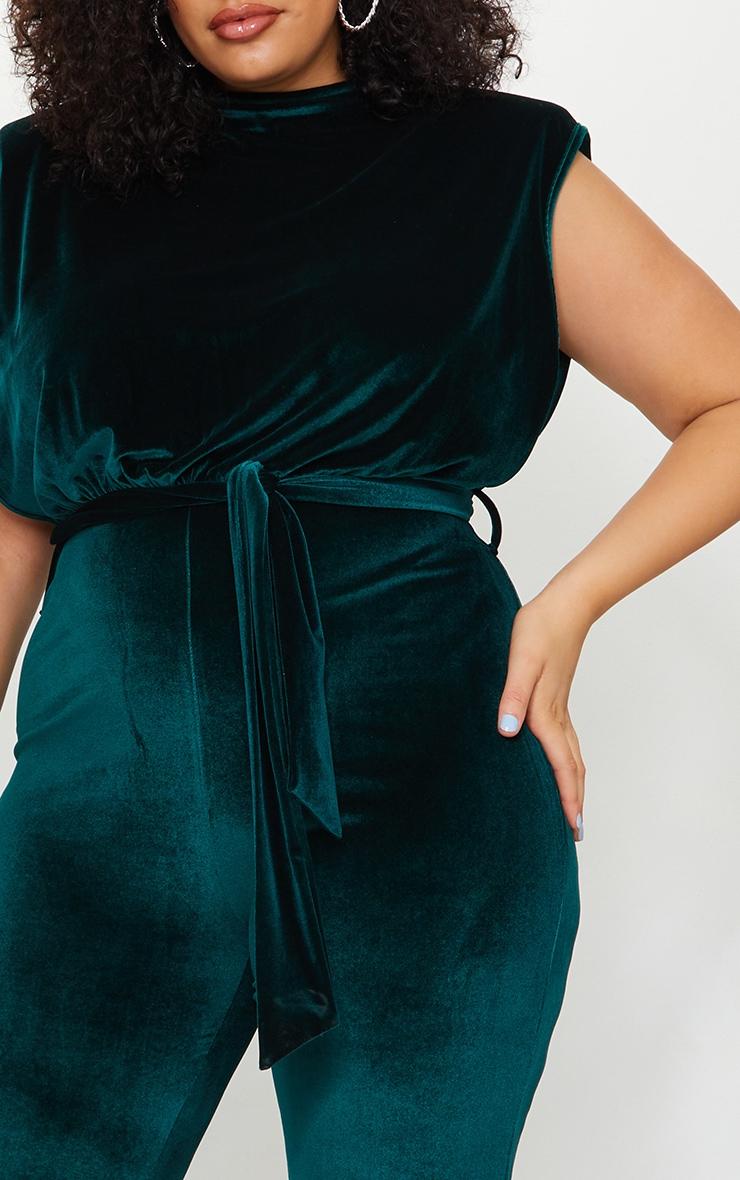 Plus Emerald Green Velvet Shoulder Pad Tie Waist Wide Leg Jumpsuit 4