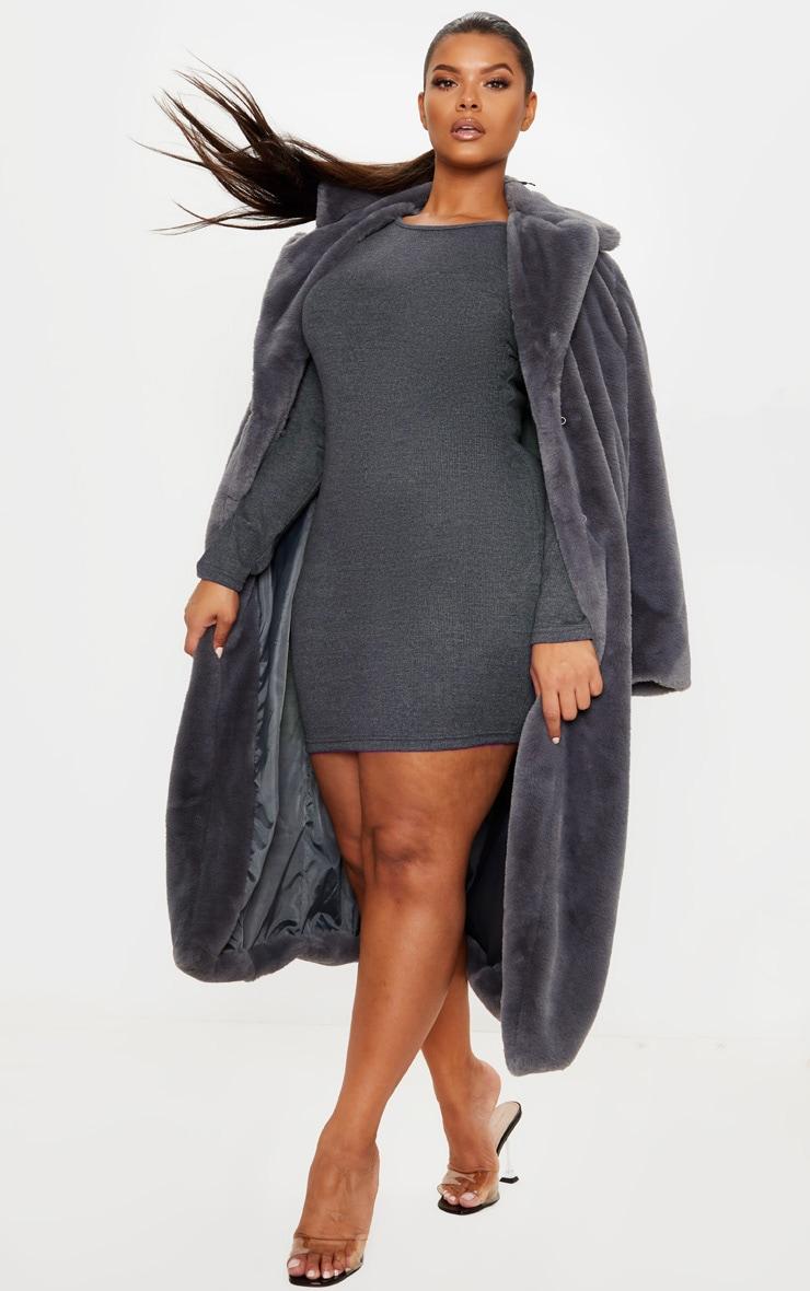 Plus Charcoal Thick Rib Long Bodycon Dress 4