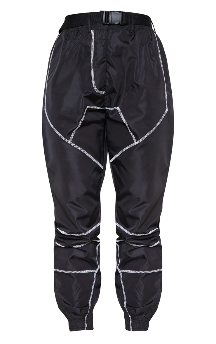 Black Contrast Stitch Belted Shell Jogger 3