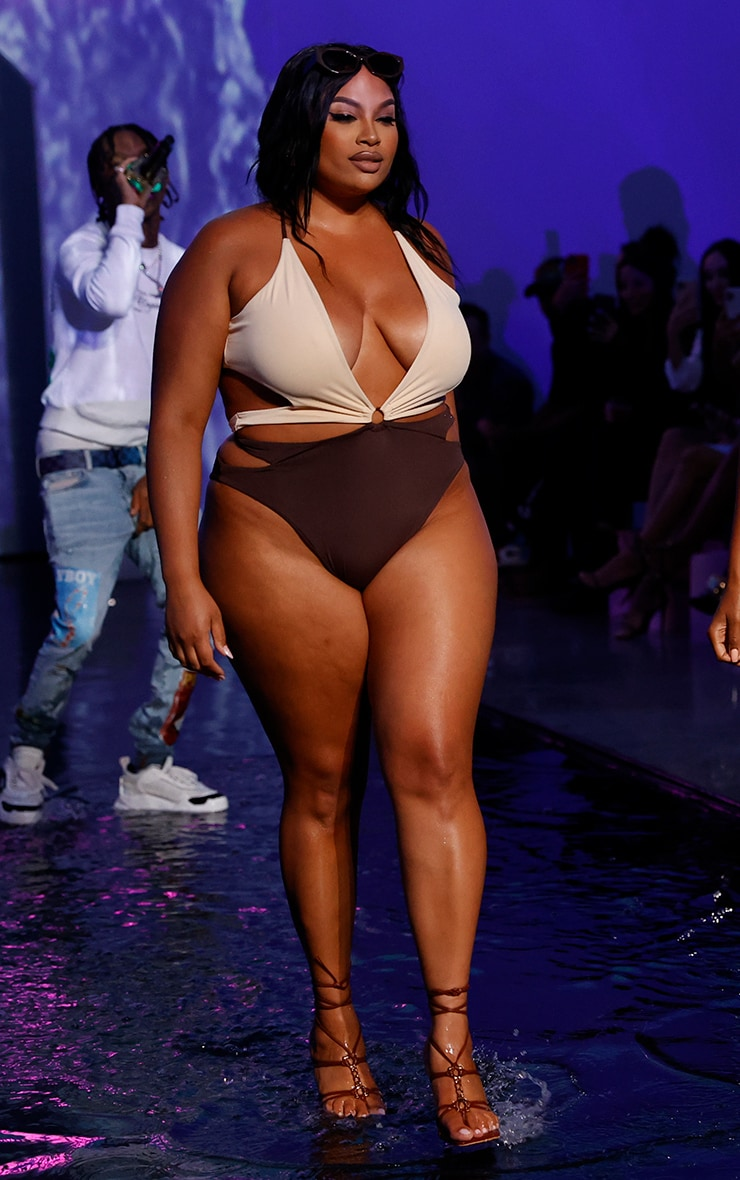 Plus Chocolate Contrast Cut Out Swimsuit 3