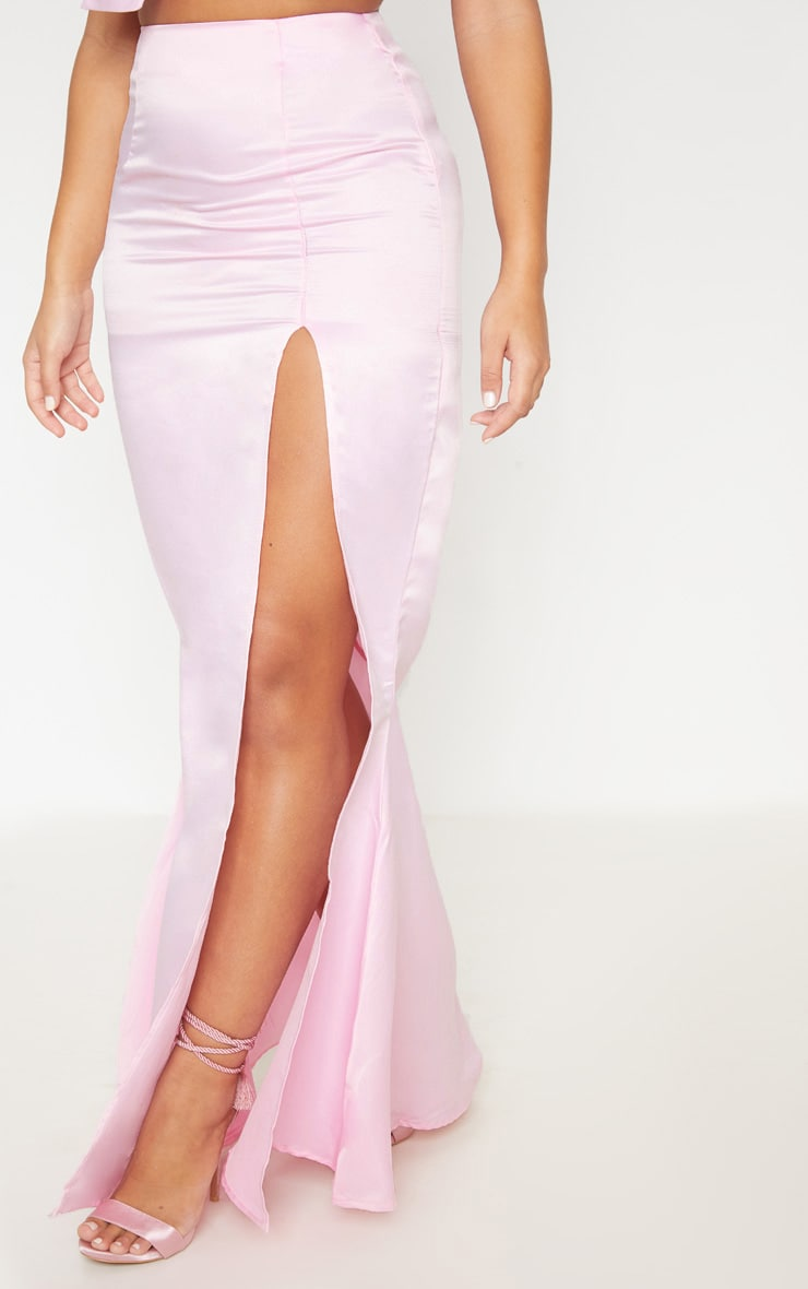 Pale Pink Woven Split Front Maxi Skirt 3