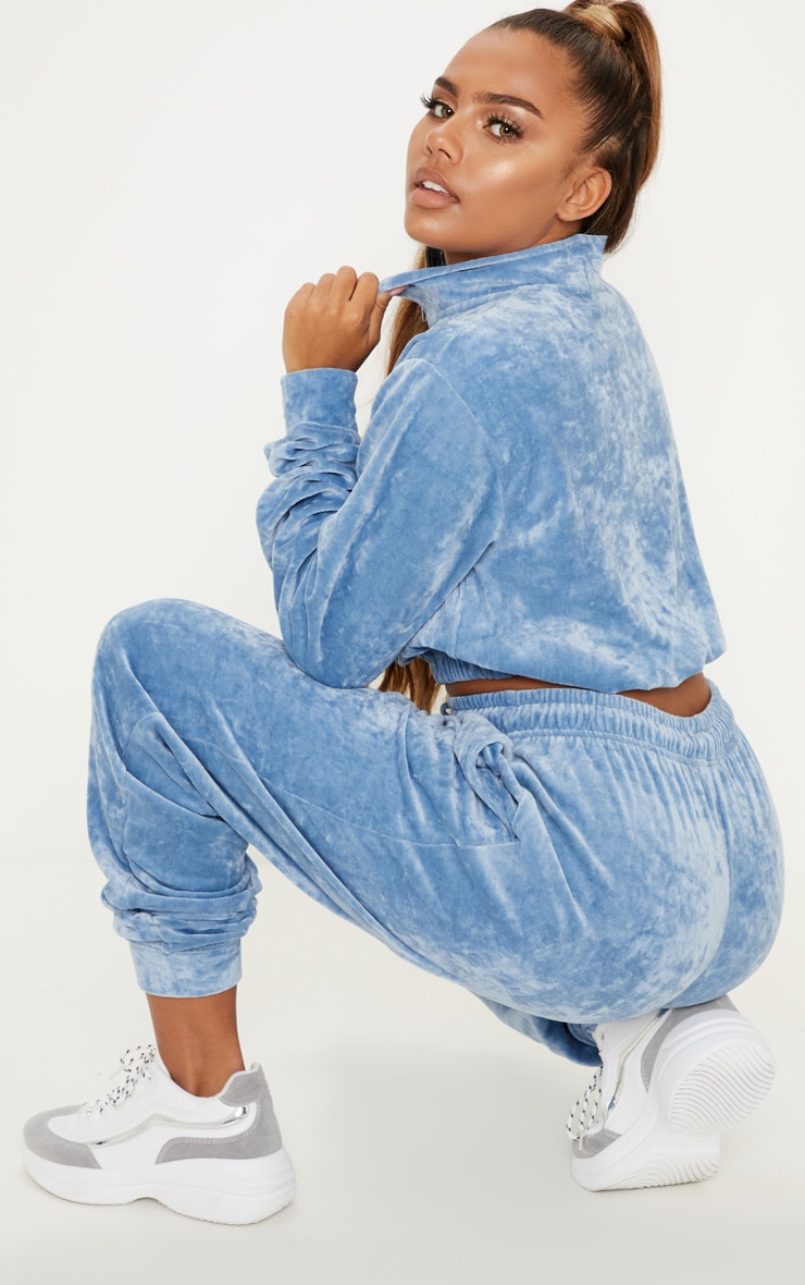 Pale Blue Velour Crop Zip Up Jacket 2