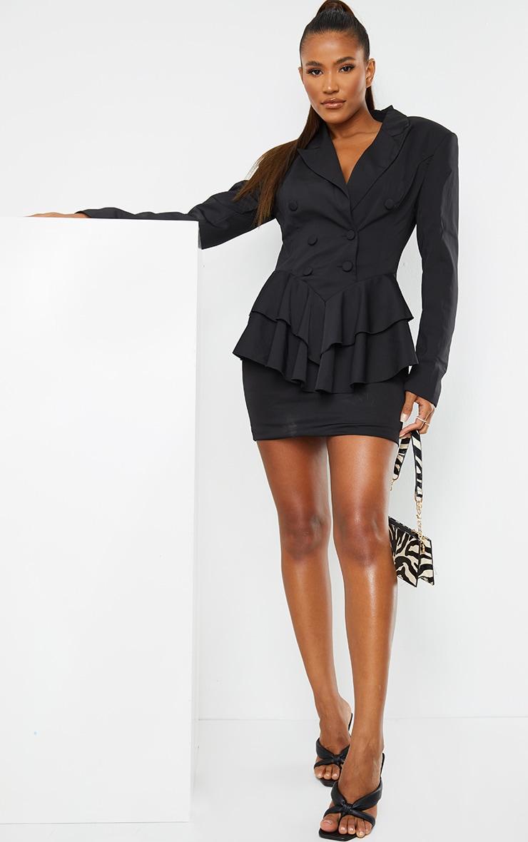 Black Peplum Frill Blazer Dress 1