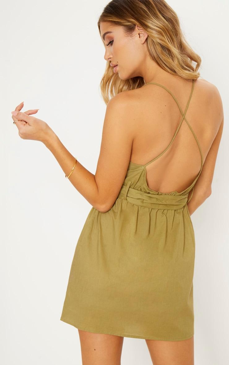Khaki Belt Detail Shift Dress 3