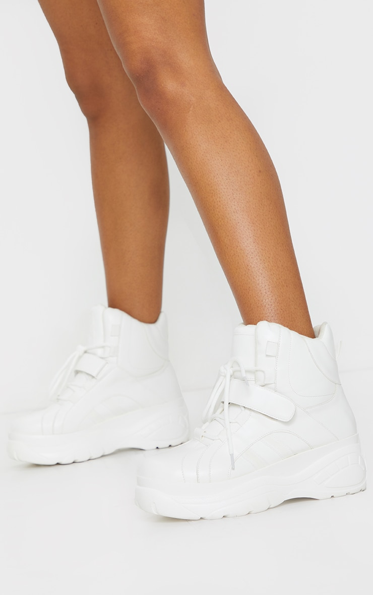 White Chunky Hiker Strap Boots 1