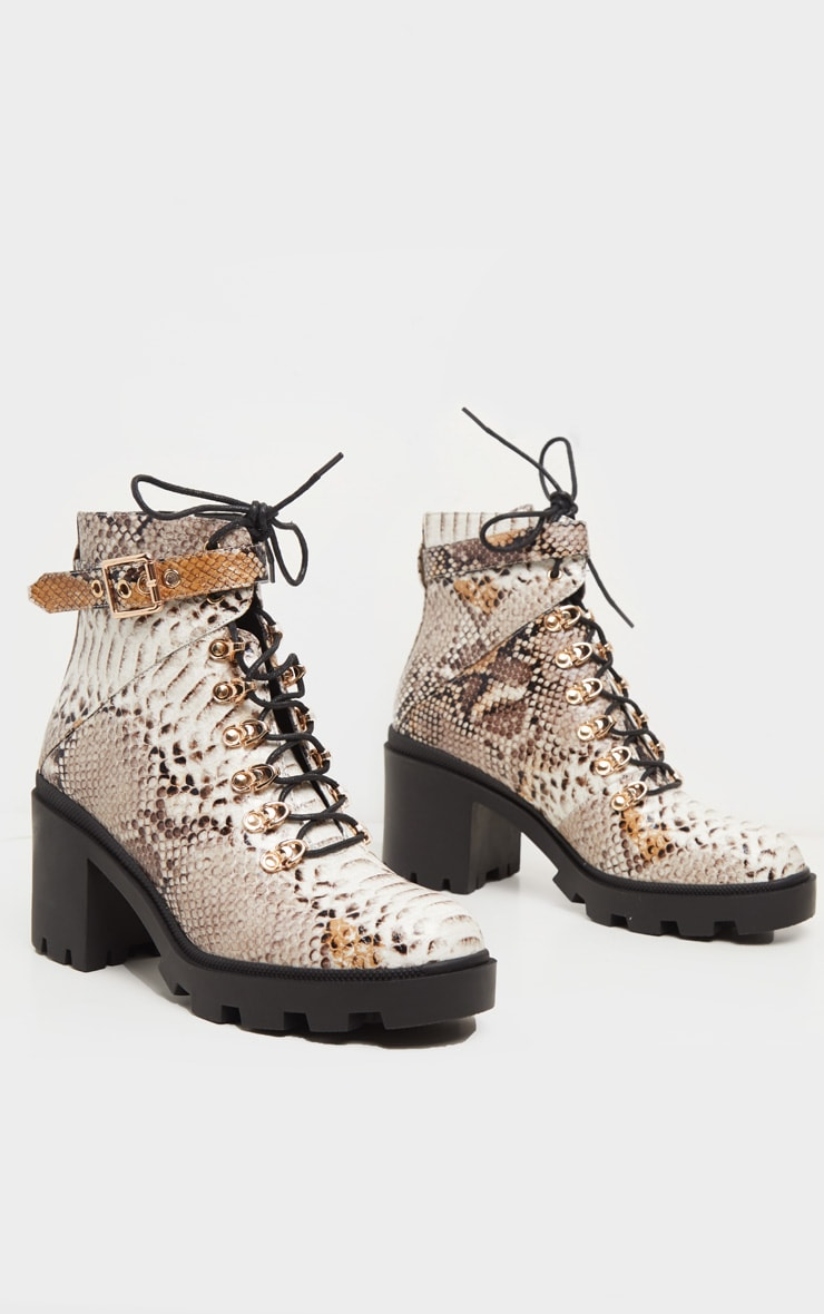 Snake Lace Up Heeled Hiker Boot 3