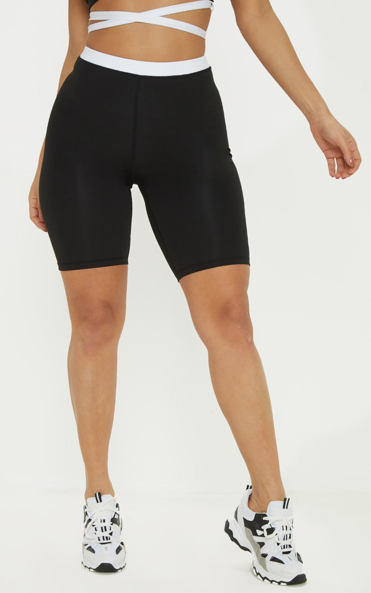 Black Contrast Waist Cycle Short 2