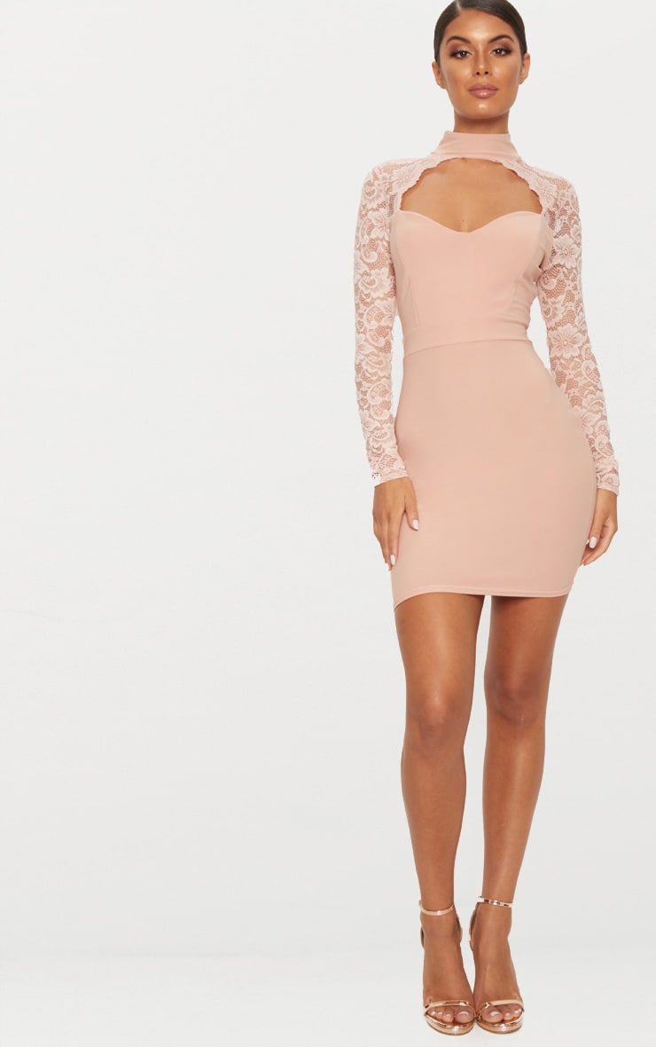 Hot lace bodycon dusty long pink dress sleeve size chart queen