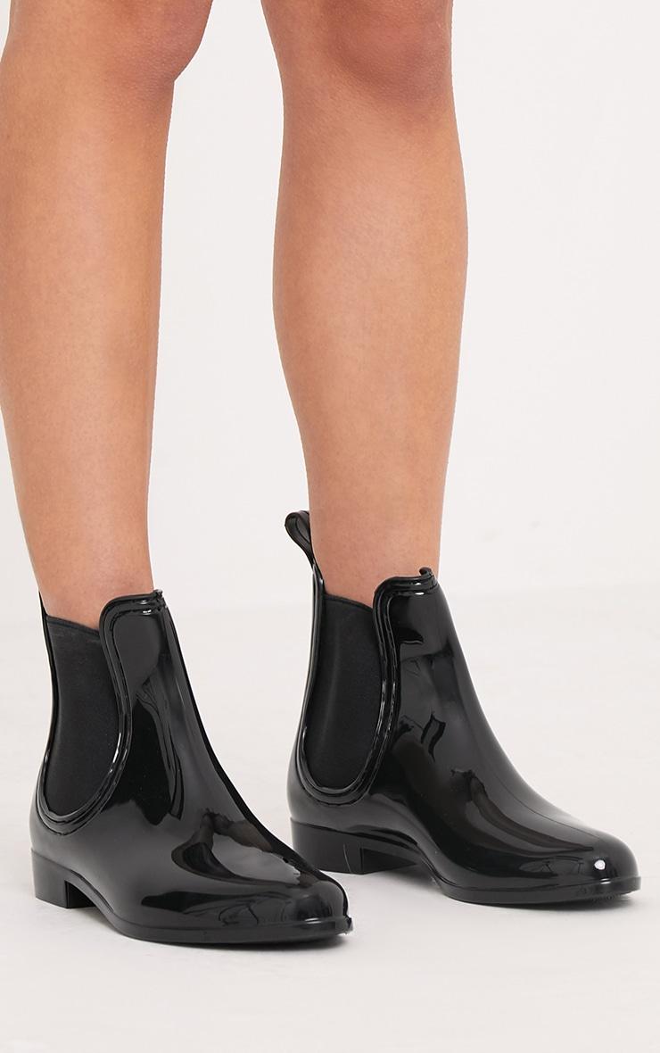 Tamia Black Chelsea Rain Boots 1