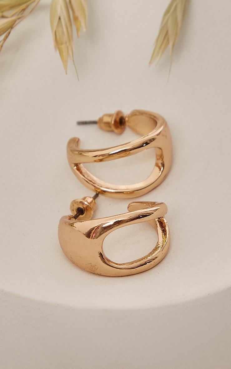 Gold Cut Out Mini Hoop Earrings 3