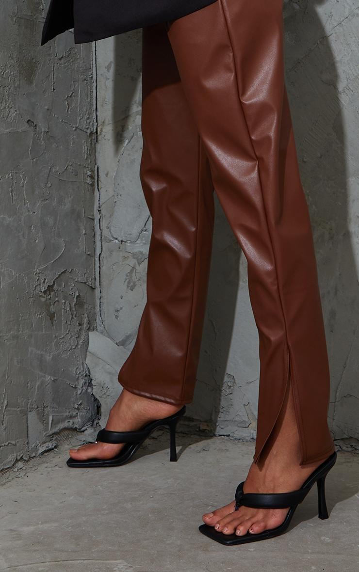 Maternity Tan Faux Leather Split Hem Trousers 4