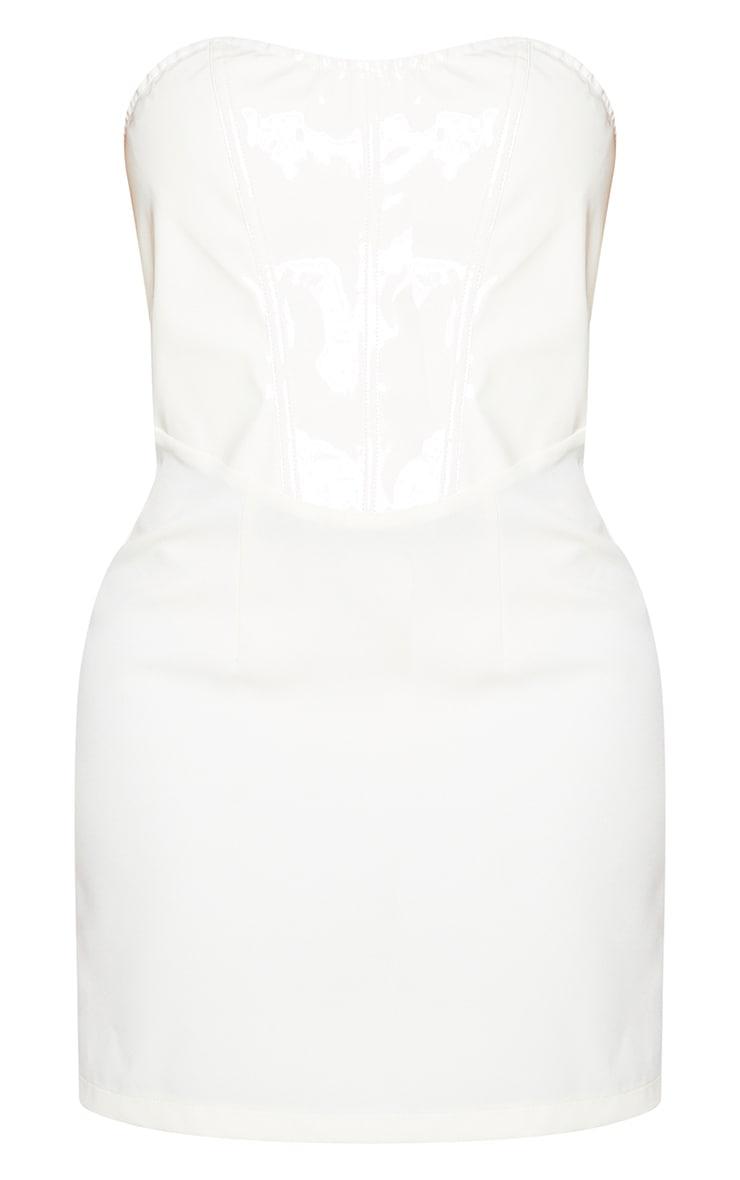 Shape Cream Vinyl Sweetheart Bandeau Seam Detail Bodycon Dress 5