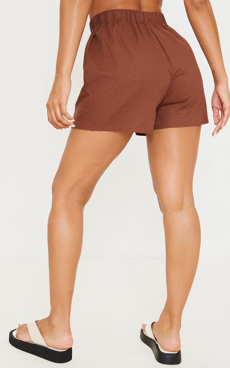 Brown Woven Elastic Waist Floaty Shorts 3