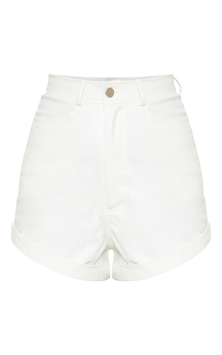 White Faux Leather Turn Up Hem Short 3