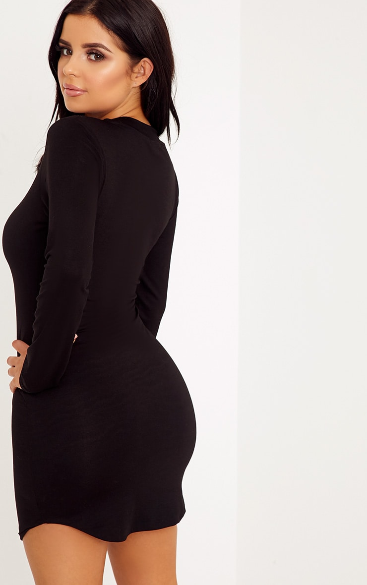 Shape Dionne Black Jersey Curve Hem Mini Dress 2