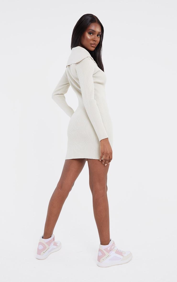 Tall Stone Half Zip Thick Rib Mini Dress 2